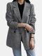 Plaid Printed Long Sleeve Button Casual Blazer Suit Jacket For Women - Black