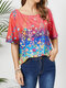 Floral Print O-neck Plus Size Casual T-shirt - Red