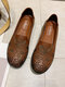Pu Leather Soft Comfortable Women's Flats For Work - Brown