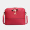 Women Shell Bags Faux Leather Solid Color Square Shoulder Bag