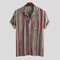 Mens Ethnic Style Colorful Striped Summer Short Sleeve Loose Casual Shirt