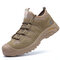 Men's Steel Toe Breathable Smash-proof Anti-puncture Safety Work Shoes - Khaki