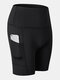 Women Quick Dry Breathable Elastic Skinny Fit Yoga Sports High Waist Shorts With Side Pocket - Black