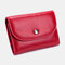 Women Genuine Leather Lychee Pattern Coin Purse Card Case Multifunctional Wallet - Red1