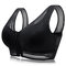 Zip Front Gather Embroidery Comfort Wireless Wide Shoulder Breathable Elastic Bra - Black