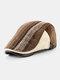 Men British Style Retro Stripe Pattern Casual Keep Warm Forward Hat Beret Hat - Coffee