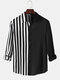 Mens Contrast Patchwork Stripe Relaxed Fit Casual Long Sleeve Shirts - Black