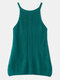 Solid Color Knitted Hollow O-neck Sleeveless Women Cami - Green