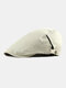 Men Polyester Cotton Solid Color Sunscreen Brief Casual Beret Flat Caps - Beige