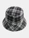 Women & Men Plaid Pattern Retro Port Style Windproof Soft All-match Travel Bucket Hat - #16