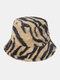 女性と男性のフェルトZebraパターンPlus厚くベルベット暖かい防風Softオールマッチバケットハット - カーキ