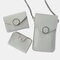Women Casual 3PCS Touch Screen 6.3 Inch Solid Chain Phone Crossbody Bag - Grey