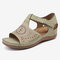 LOSTISY Vintage Pattern Hollow Comfy Beach Casual Wedges Sandals - Light Khaki