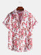 Mens Floral Plant Print Button Up Holiday Short Sleeve Shirts - Pink