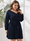 Solid Color V-neck Elastic Sleeve Plus Size Knotted Dress for Women - Navy