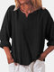 Solid Color Cotton V-neck Loose Long Sleeve Casual Blouse for Women - Black
