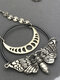 Vintage Animal-Shape Women Necklace Skull Moth Mysterious Pendant Necklace Jewelry Gift - Silver