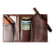 Men Trifold Long Wallet Card Holder Clutch Bag - Coffee