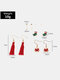 Christmas Women Earrings Set Christmas Tree Bells Tassel Pearl Ear Stud - #04