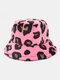 Women & Men Plush Soft Warm Casual All-match Cute Leopard Pattern Bucket Hat - Red