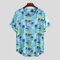 Mens Hawaiian Floral Printed Round Collar Comfy Short Sleeve Loose T-shirts