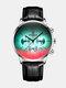 Luxury 30 Meters Waterproof Clock Male Casual Mesh Belt Quartz Watch - Silver Shell Black Leather Band