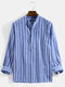 Mens Vertical Striped Stand Collar Cotton Casual Long Sleeve Henley Shirts - Blue