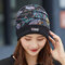 Women Floral Pattern Casual Fashion Breathable Outdoor Pleats Keep Warm Turban Beanie Hat - Black