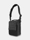 Canvas Outdoor Two Tone ZIP Front Multifunction Tactical 11 Inch Crossbody Bag - Black