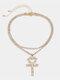 Cross Peach Corazón Collar Temperamento Borla Collar multicapa Cadena de garra completa simple - Oro
