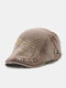 Men Cotton Letters Geometric Pattern Embroidery Casual Sunscreen Beret Flat Cap - Coffee
