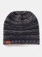 Women Wool Stripe Pattern Keep Warm Empty Top Ear Protection Knitted Hat - Navy