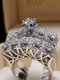 Trendy Geometric Metal Diamond Rings Temperament Rhinestone Rings - #19