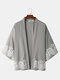 Mens Chinoiserie Waves Pattern Open Front Drop Shoulder Kimono - Green