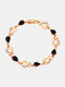 Vintage Heart Women Bracelet Hollow Inlaid Diamonds Bracelet Valentine's Day Gift - Black