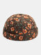 Unisex Floral Overlay Pattern Fashion Young Brimless Beanie Landlord Cap Skull Cap - Coffee