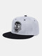 Unisex Cotton Contrast Color Letter Skull Pattern Embroidery Flat Brim Hip Hop All-match Baseball Cap - Gray