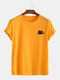 Mens Cotton Cute Cat Solid Color Casual O-Neck Short Sleeve T-Shirt - Yellow