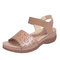 Women Hollow Out Elastic Band Opened Toe Slide Sandals - Brown