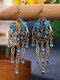Vintage Bohemian Hollow Drop Flower Shape With Tassel Inlaid Rhinestones Alloy Earrings - Lake Blue
