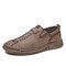 Men Brief Comfy Soft Hand Stitching Casual Outdoor Driving Shoes - Khaki