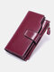 Vintage Genuine Leather Trifold RFID Anti-Theft Stitch Craft Multi-Slots Snap Clasp 6.5 Inch Phone Bag Long Wallet - Dark Purple