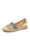 Women Casual Splicing Espadrilles Butterfly Knot Closed Toe Flats - Gold