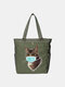 Women Cat Pattern Mask Casual Canvas Shoulder Bag - Army
