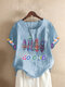 Feather Letter Striped Printed O-Neck T-shirt - Light Blue 1