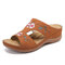LOSTISY Flower Embroidered Vintage Casual Wedges Sandals - Brown