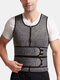 Mens Tummy Control Waist Trainer Zip Front Vest Shapewear With Double Sticky Belts - Gray