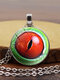 Vintage Alloy Glass Printed Women Necklaces Crocodile Eyes Pendant Sweater Chain - #04