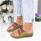 Large Size Women Comfy Retro Stitching Splicing Hollow Wedges Sandals - Green