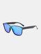 ユニセックスPCフルスクエアフレームHD偏光UV保護アウトドアファッションサングラス - 黒1